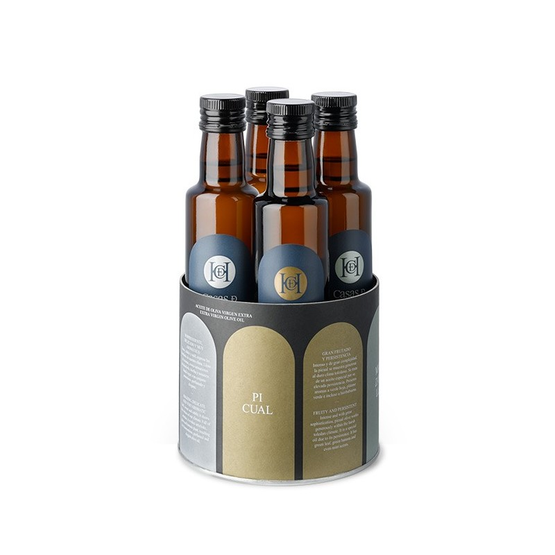 Estuche regalo aceite oliva Casas Hualdo 4 botellas