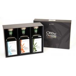 Idea para regalar Aceite de Oliva ecológico en estuche regalo Oro del Desierto